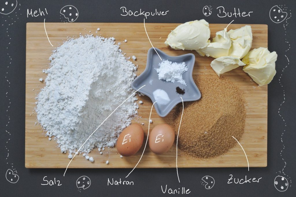 Die Zutaten für den Grundteig der Cookies