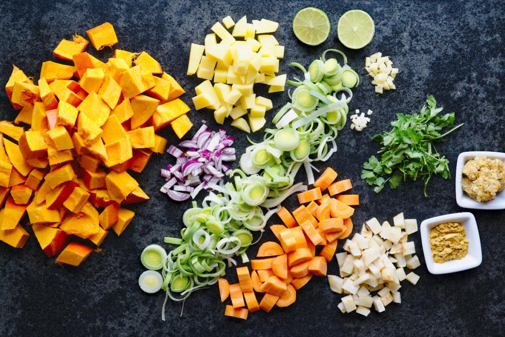 Zutaten für eine Kürbissuppe