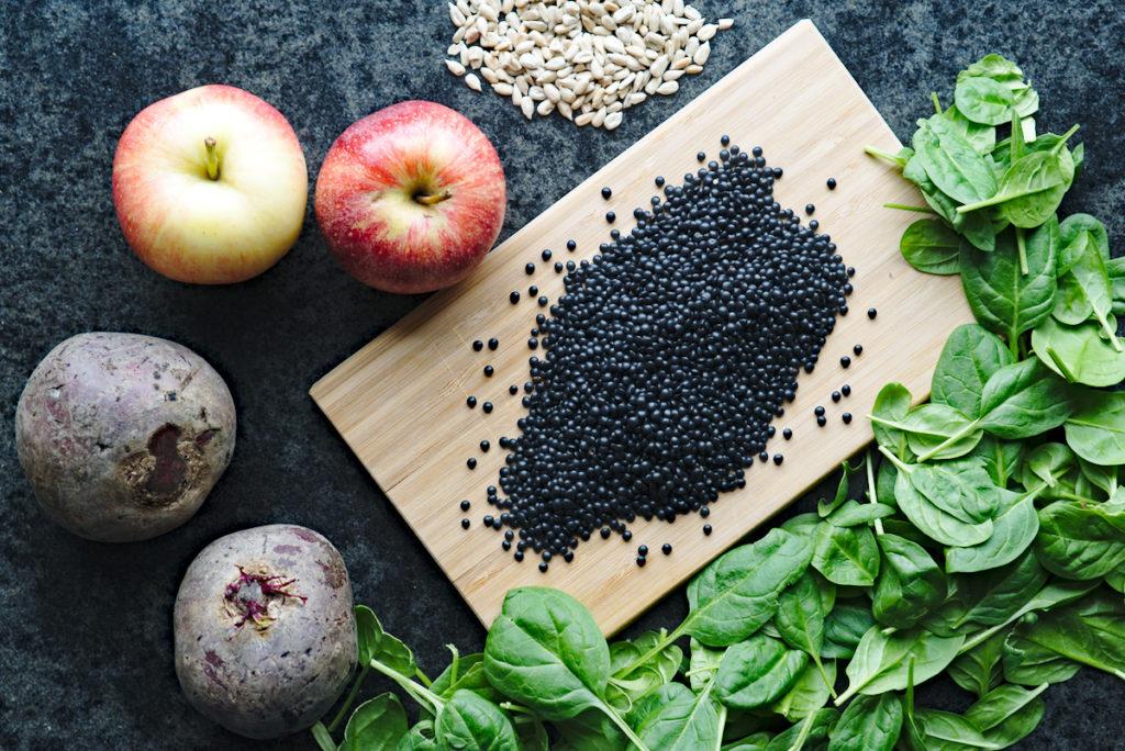 Zutaten für winterlichen Linsensalat