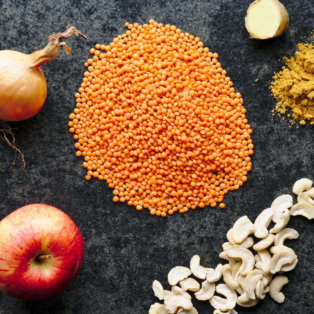 Linsen, Apfel, Zwiebel, Cashew, Ingwer