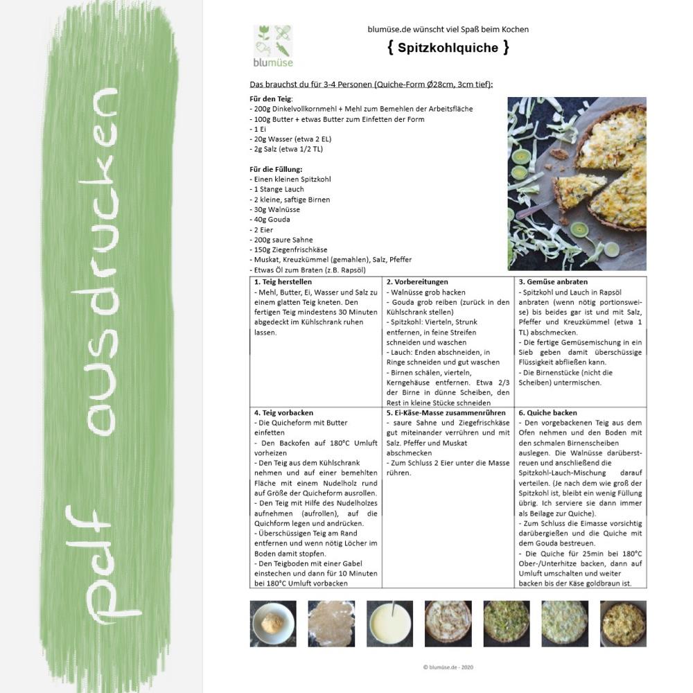 Rezept Spitzkohlquiche ausdrucken