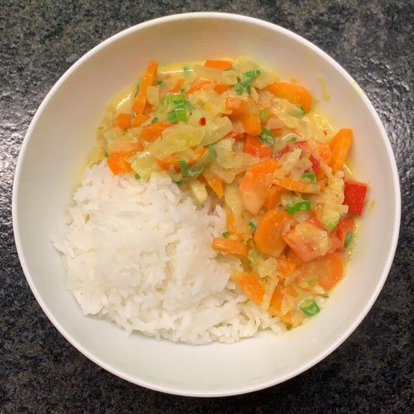 Karottencurry mit Reis