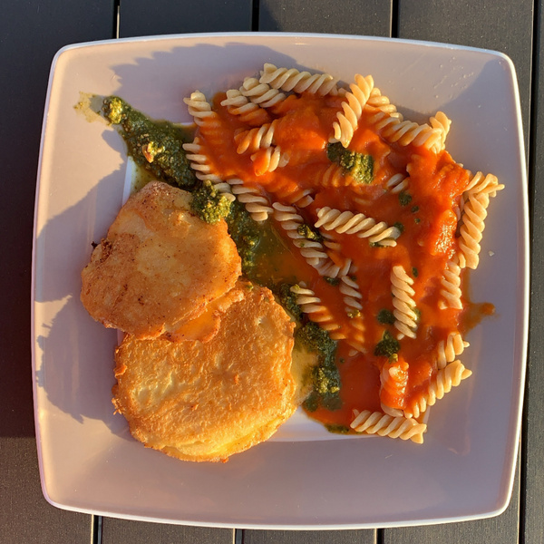 Sellerieschnitzel mit Nudeln